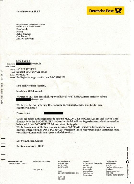 Briefe Mit Deutsche Post Antwort : Post von der deutschen die entgültige registrierung