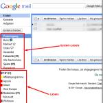 Gmail und das linke Menü – System-Labels