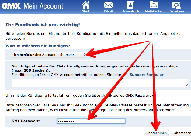 Screenshot vom 14.07.2013 - Quelle: gmx.de