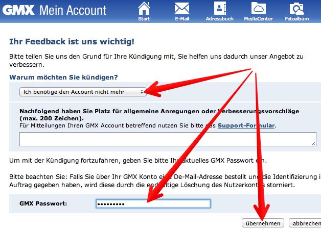 Screenshot vom 14.07.2013 - Quelle: gmx.de