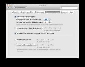 HyperDock Fensterschnappen Konfiguration