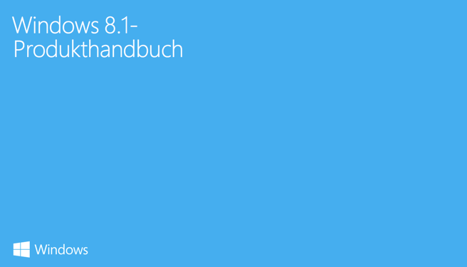 Screenshot vom Titelblatt des Windows 8.1-Produkthandbuch