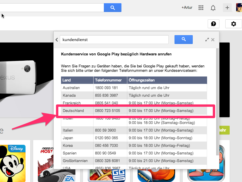 Google Hotline Telefonnummer