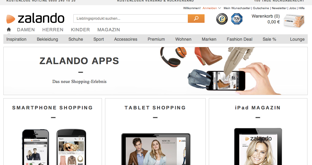 Screenshot vom 21.11.2013 von http://www.zalando.de/zalando-apps/